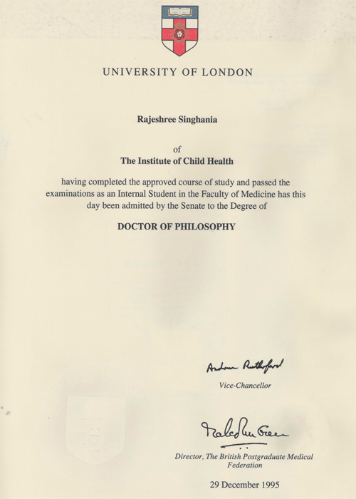 University Of London Doctor Philosophy Pediatrician